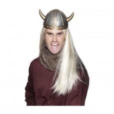 Inchiriere Casca viking, aspect metalic, coarne aurii, barbati