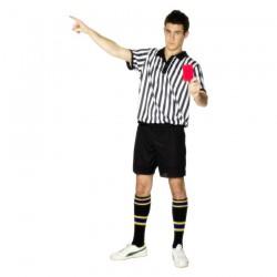 Inchiriere Costum arbitru fotbal, sort negru, tricou dungi alb-negre, barbati