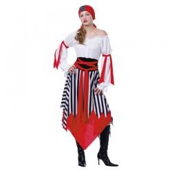 Inchiriere Costum Pirat, rochie alb-rosie, dungi negre, femei