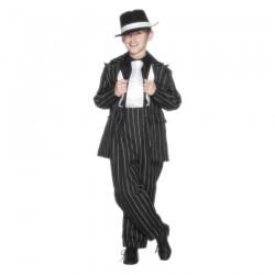 Inchiriere Costum Gangster Interbelic, pantaloni si sacou, negru cu dungi albe, baieti