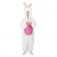 Inchiriere Costum Iepuras, salopeta alba pufoasa, bulina roz, baieti, fete