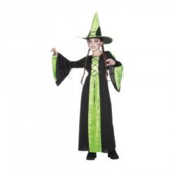 Inchiriere Costum vrajitoare Halloween, rochie verde/negru, fete